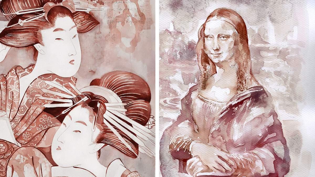 Дівчина малює унікальні картини за допомогою вина: неймовірна добірка