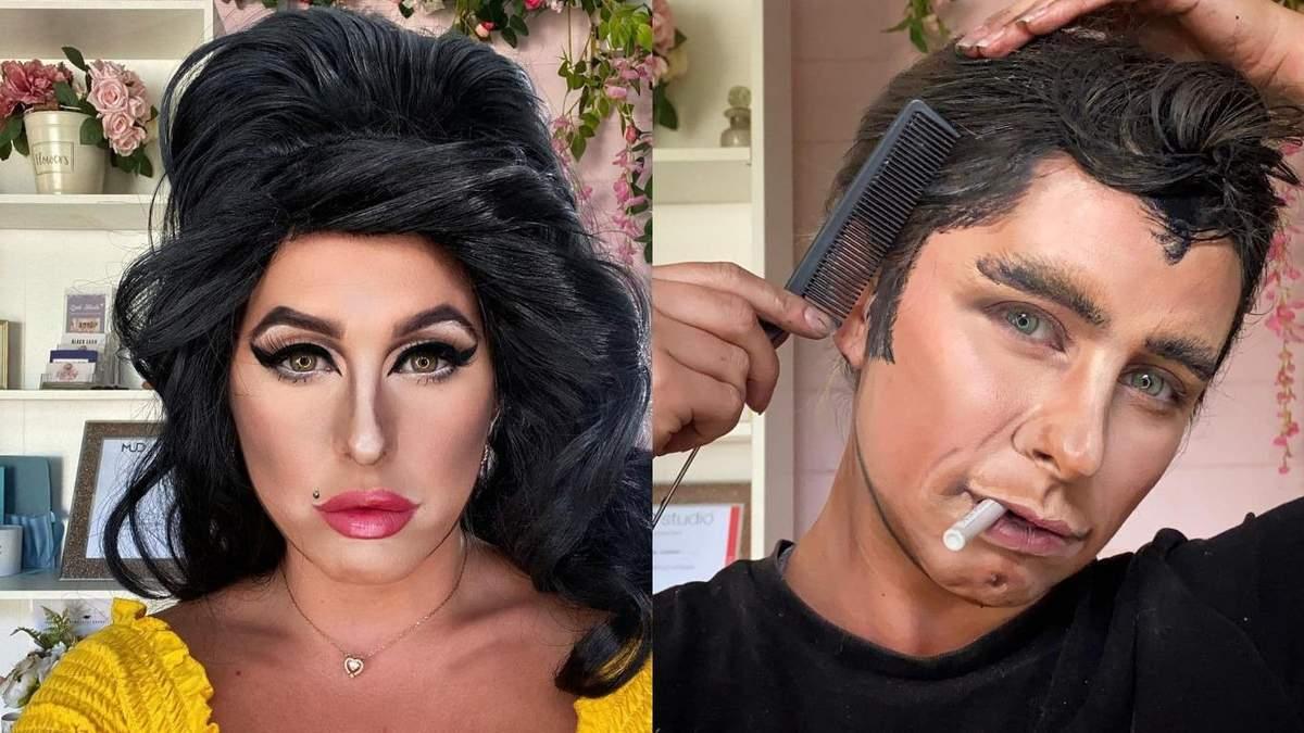 Девушка может превратиться в любую звезду с помощью макияжа – фото