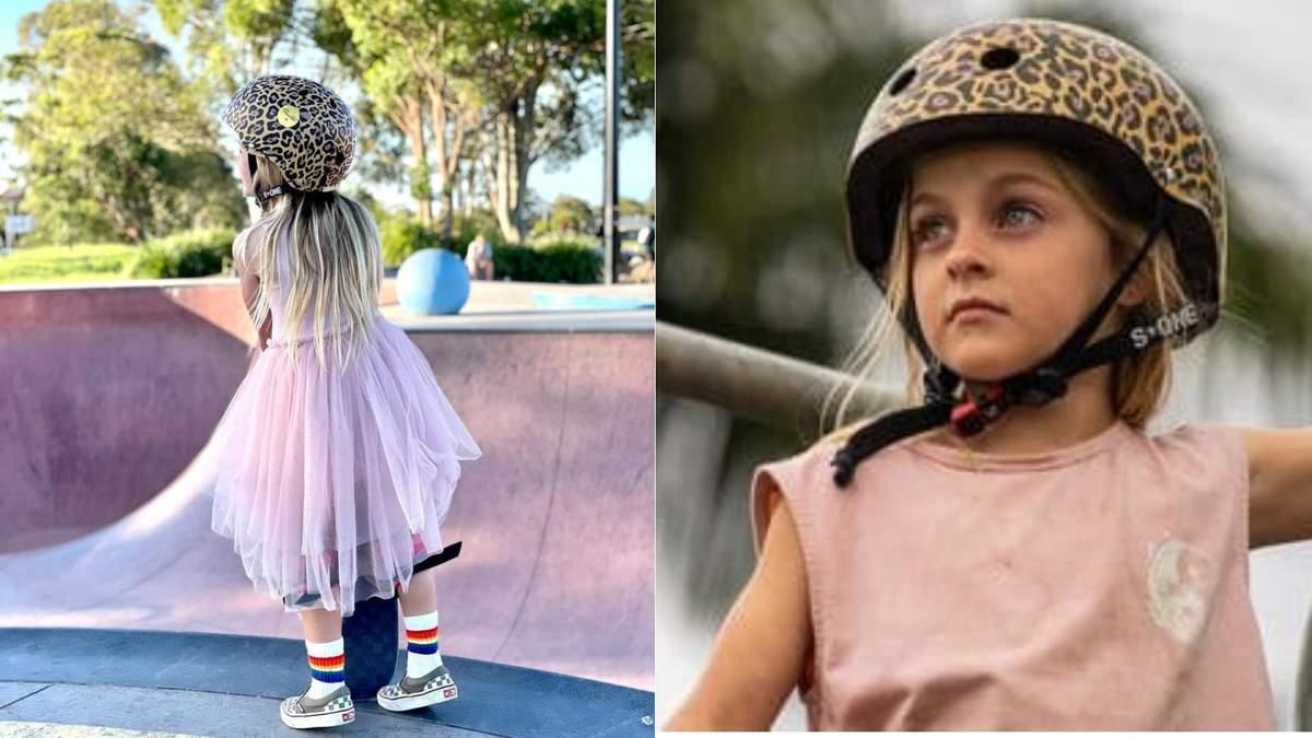 У рожевій сукні та шоломі: 6-річна дівчинка вразила мережу трюками на скейтборді