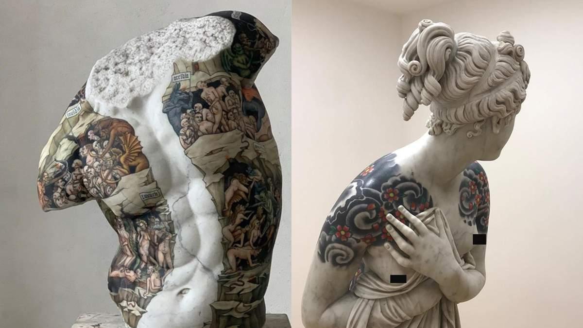 Майстер робить тату мармуровим скульптурам