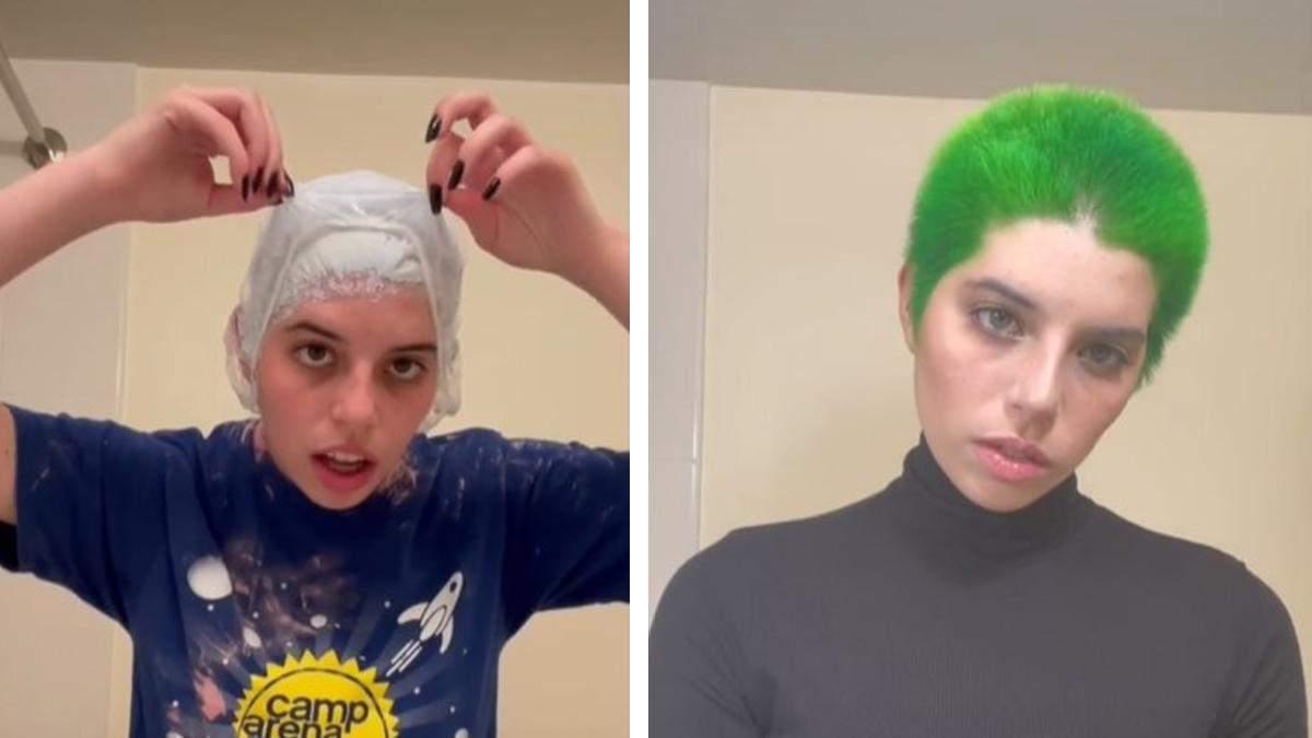 Блогерша показала неожиданное преимущество зеленого цвета волос: видео