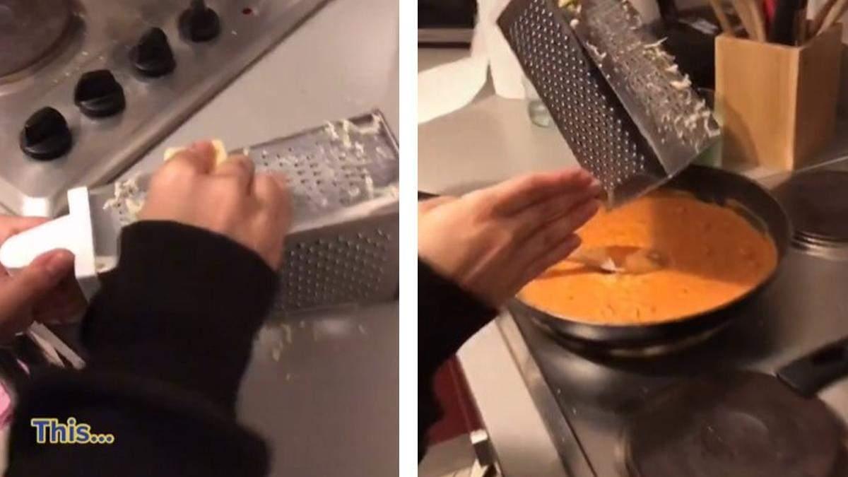 Девушка показала новый способ, как пользоваться теркой: это удобно