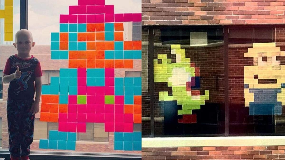 Хлопчик у лікарні знайшов друзів за допомогою стікерів на вікні