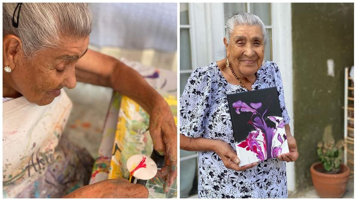 90-річна бабуся стала зіркою тіктока, малюючи свої абстрактні твори