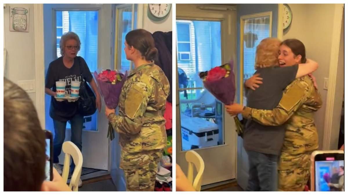 Все вылетело из рук: сеть растрогало видео встречи бабушки с внучкой-военной - Life