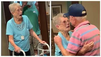 Дедушка сделал сюрприз 95-летней сестре после долгой разлуки: трогательное воссоединение