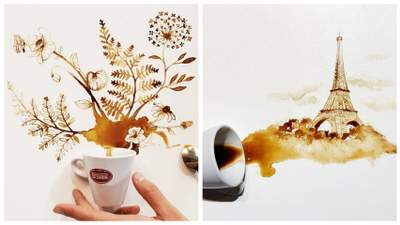 Разливает кофе и превращает это в искусство: креативные картины итальянской художницы