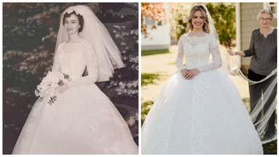 Нашла в подвале: девушка вышла замуж в свадебном платье, которому уже 60 лет