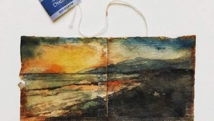 Художниця малює цілі картини на звичайних чайних пакетиках: вражаючі ілюстрації