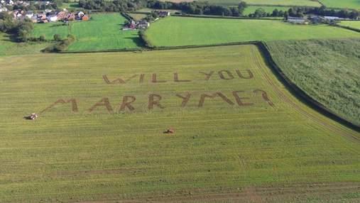 """Увидела с воздушного шара: фермер выстриг на поле огромные слова """"Выходи за меня"""""""